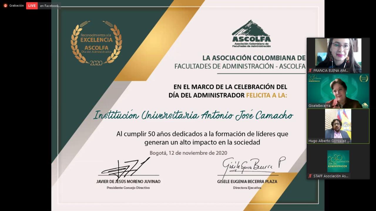 RECONOCIMIENTO 50 AÑOS UNICAMACHO POR PARTE DE ASCOLFA